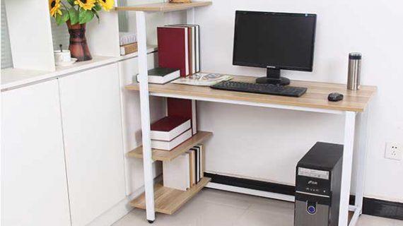 Bàn máy tính comdesk chân sắt mặt gỗ cao su bền đẹp tại TP HCM