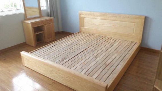Các mẫu giường gỗ sồi Mỹ đẹp giá rẻ được bảo hành 12 tháng