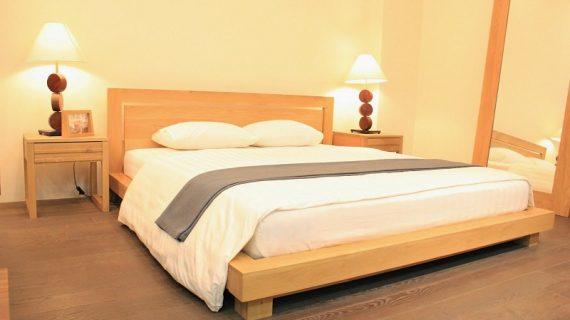 Các mẫu giường gỗ cao su đẹp giá rẻ bảo hành 12 tháng