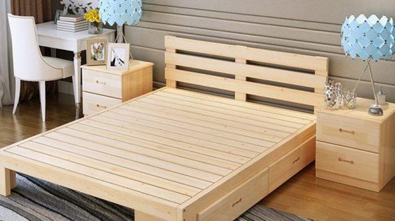 Các mẫu giường ngủ gỗ keo đẹp giá rẻ được bảo hành 12 tháng