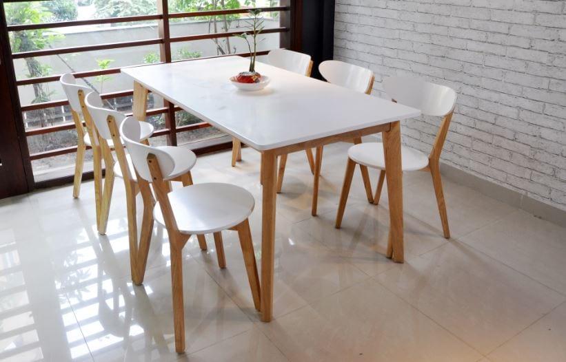 bộ bàn ăn gỗ 6 ghế phù hợp cho hộ gia đình