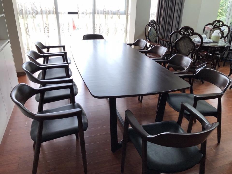 bộ bạn ăn 8 ghế với chất gỗ công nghiệp