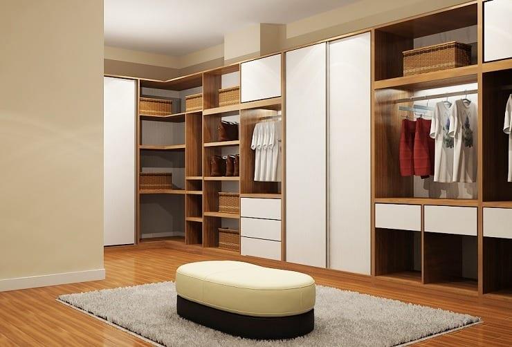 tủ quần áo được làm từ gỗ công nghiệp