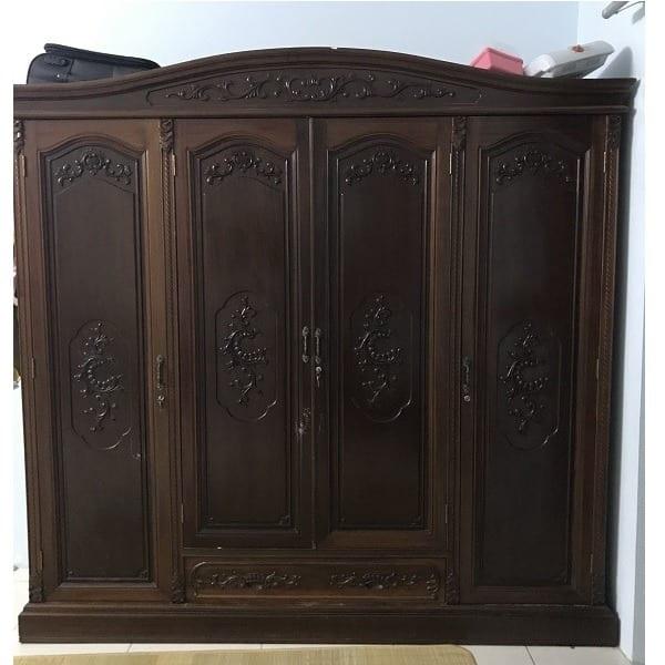 mẫu thiết kế tủ quần áo từ gỗ gụ đẹp mắt